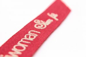 cinta de algodón con texto en 3d
