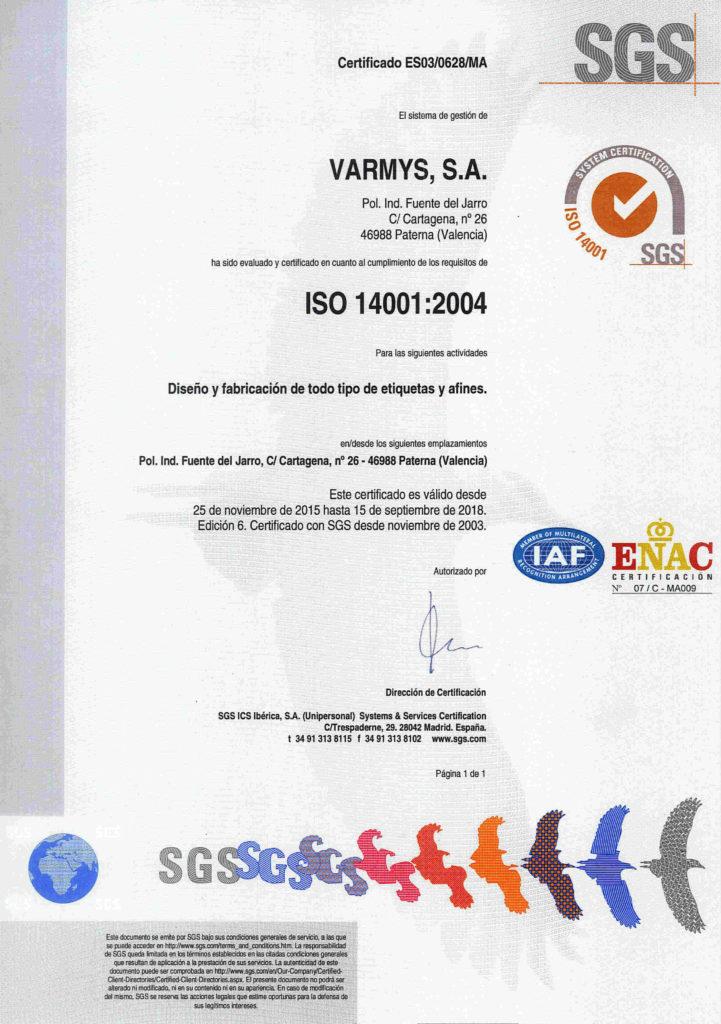 Certificado medio ambiente Varmys ISO 14001