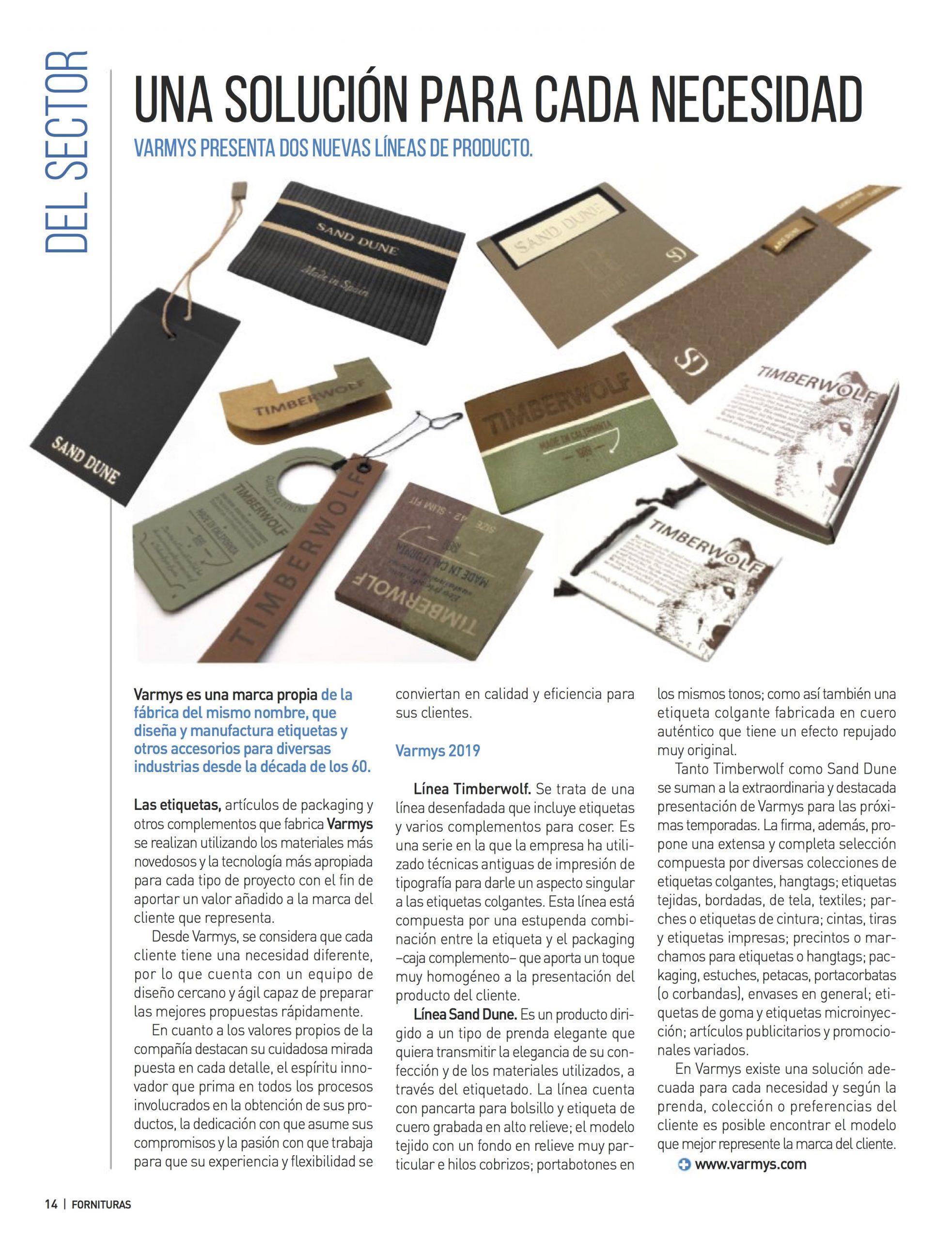 Varmys colección Sand Dune - revista Fornituras