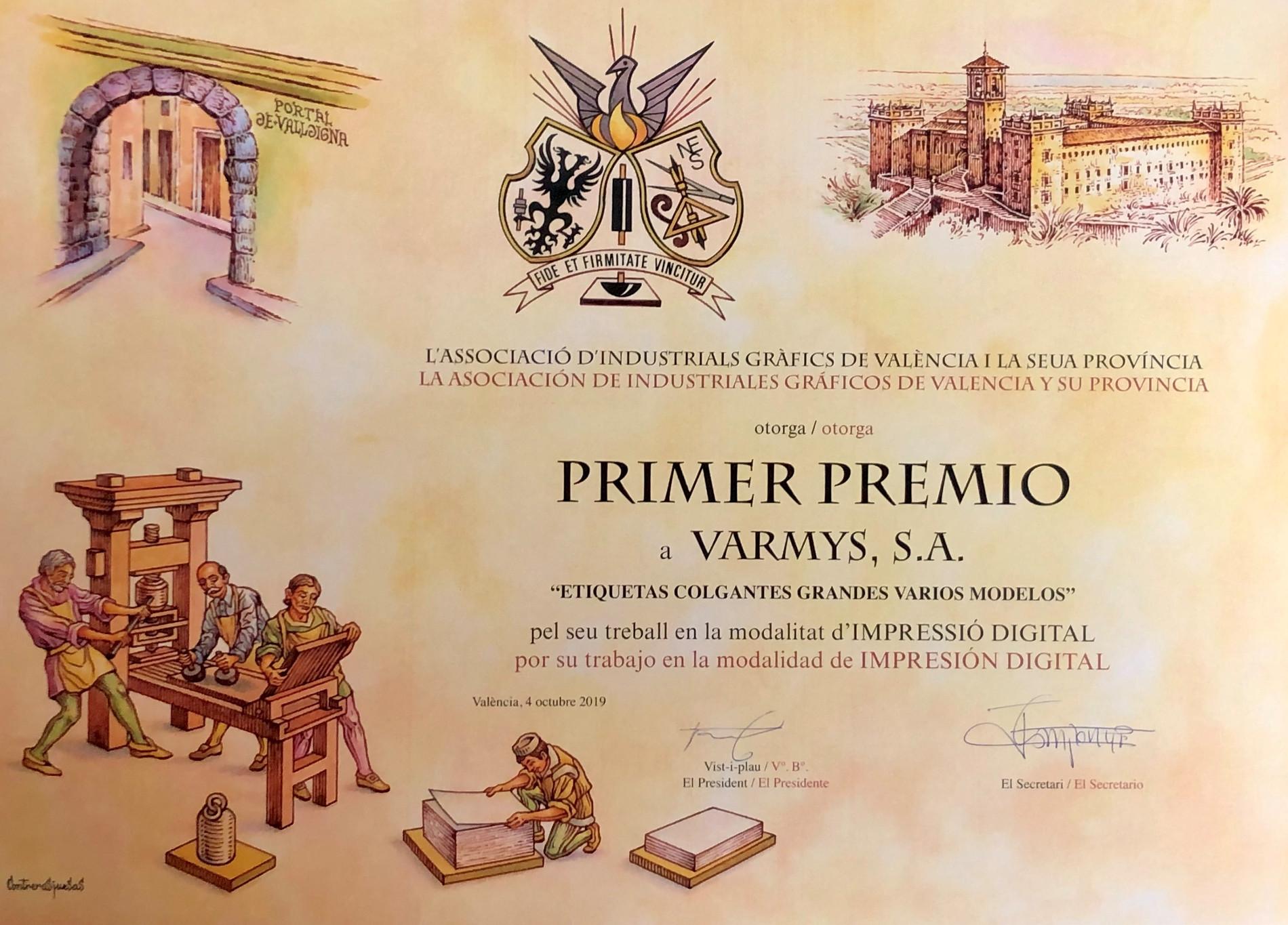 Primer premio impresión digital Varmys