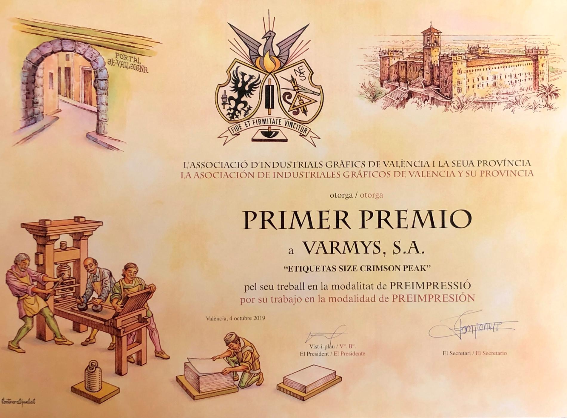 Primer premio pre impresión Varmys